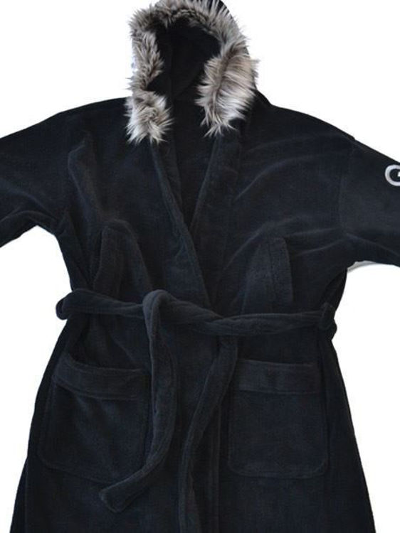Picture of Q Parka: Black Parka Style Fleece Bathrobe